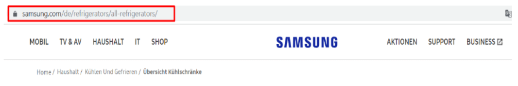 samsung example on international seo