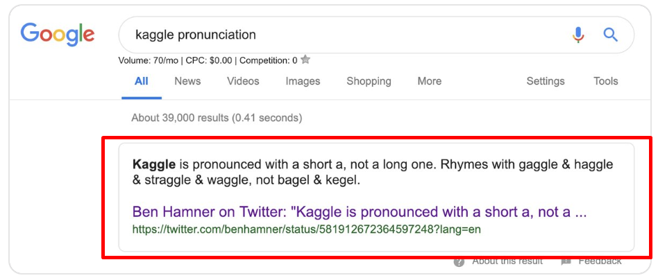 tweet grabbed a featured snippet