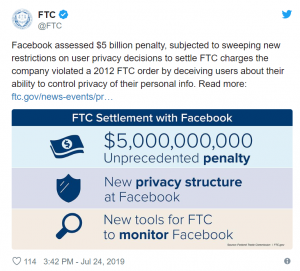 Facebook will pay $5B fine