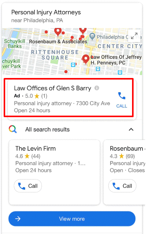 Google Local Pack Carousel With Ad At The Top